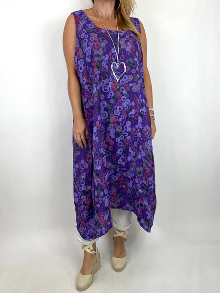 Lagenlook Millie Linen Flower Dot Square neck tunic in Purple. code 8262D