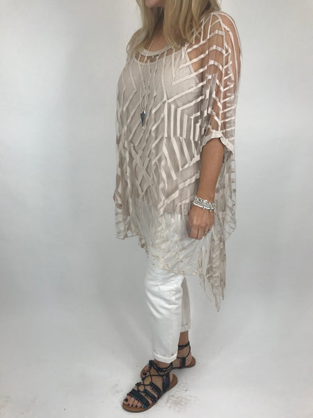 Lagenlook Lazer cut Net Layering Top in Cream. code 18042
