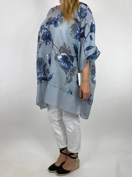 Lagenlook Ami Flower Cotton Top in Pale Grey. code 89425
