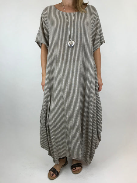 Lagenlook Maria Pinstripe Summer Tunic Dress in Mocha. code 5769