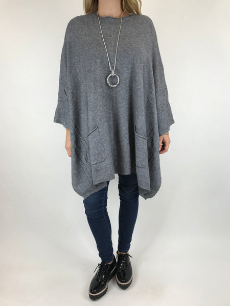 Lagenlook Button Side Poncho Jumper in Grey. code 5922