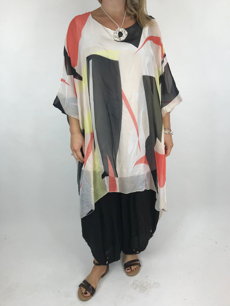 Lagenlook Block Colour Silk in Cream. code 1727b