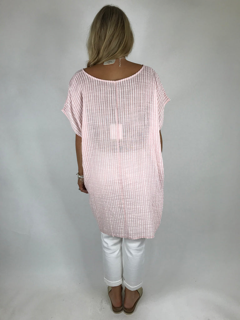 Lagenlook Nova Pinstripe Top in Pale pink. code 5175