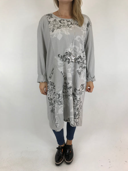 Lagenlook Jeanna Damask Tunic in Pale Grey. code 5598