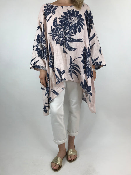 Lagenlook Linen Flower Poncho Top in Pale Pink. code 18057