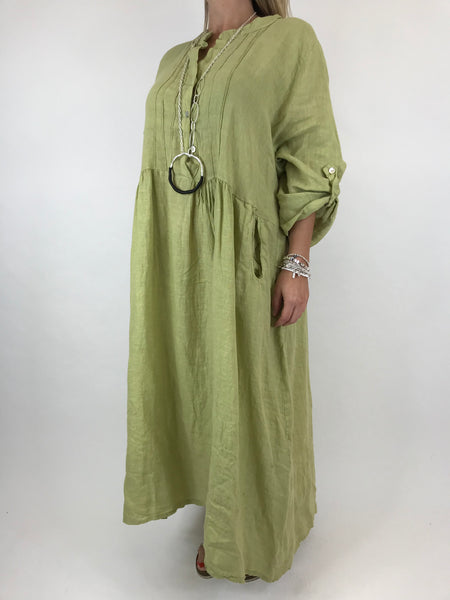 Lagenlook Amy Pintuck Linen Tunic in pale Lime. code 9824