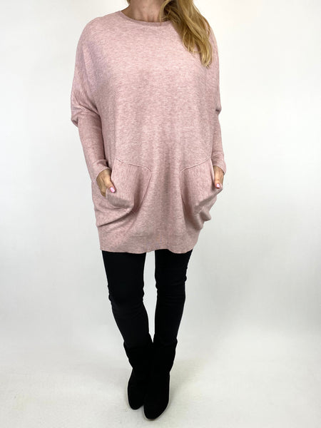 Lagenlook Piper Ribbed Plait Back Jumper in Winter Pink. code 2658 - Lagenlook Clothing UK