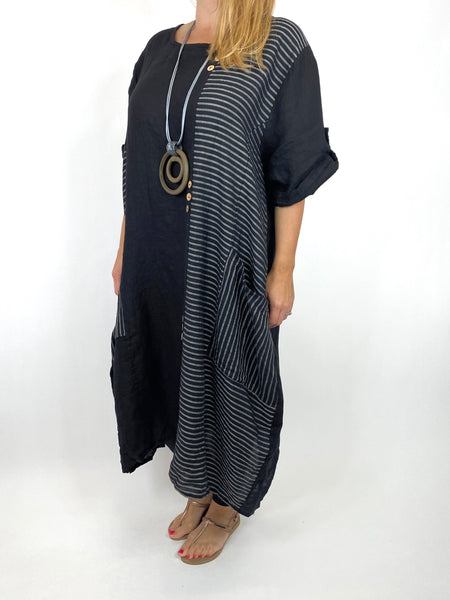 Lagenlook Claudia Button and Stripe Linen Tunic in Black . code 10377