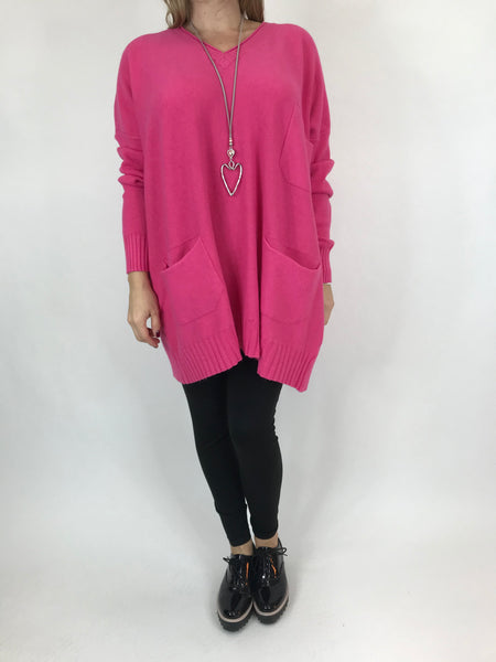 Lagenlook Grove V- Neck Knit jumper in Fuchsia. code 6077