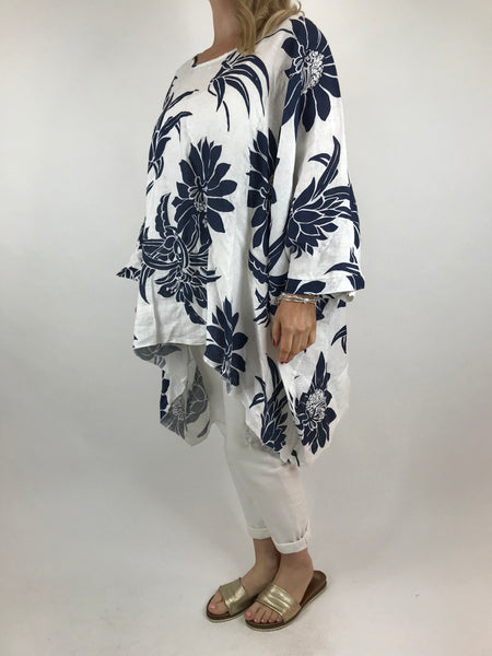 Lagenlook Linen Flower Poncho Top in White. code 18057