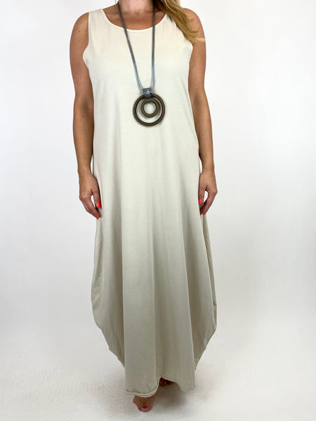 Lagenlook Babs Cotton Plain Tunic Dress in Cream.code 91112 - Lagenlook Clothing UK