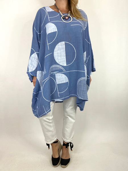 Lagenlook Camilla Patterned Top in Denim. code 91007