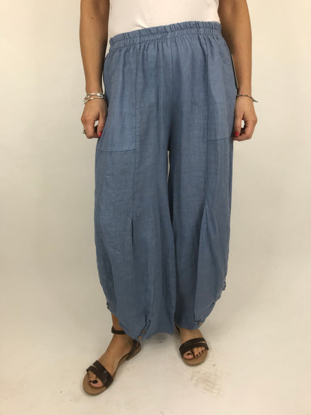 Lagenlook Linen Button Summer Trouser in Denim. code 5672