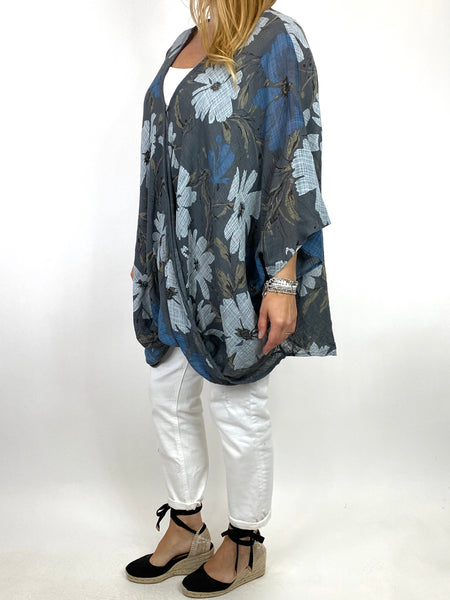 Lagenlook Hana Flower Cotton Mix Wrap Top in Charcoal. code 9100FP