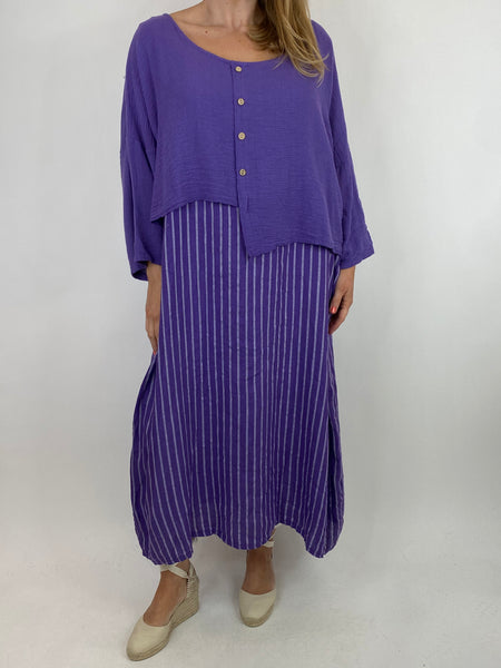 Lagenlook Lucy Stripe Over tank Tunic in Purple. Code 88213