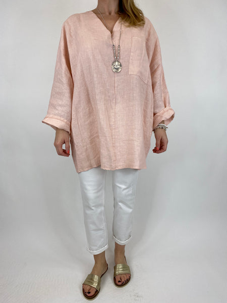 Lagenlook Ava Linen V- Neck Top in Pale Pink. code 10297
