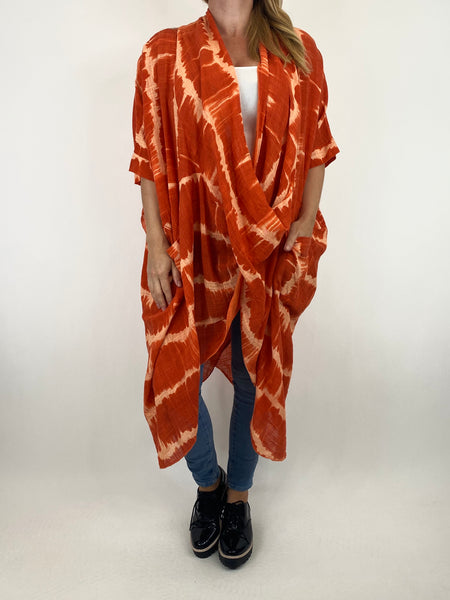 Lagenlook Cotton Tye-Dye Wrap Top in Orange. code 8308 - Lagenlook Clothing UK