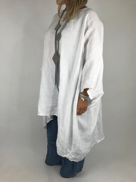 Lagenlook Vera Linen Poncho Top in White .code 8956