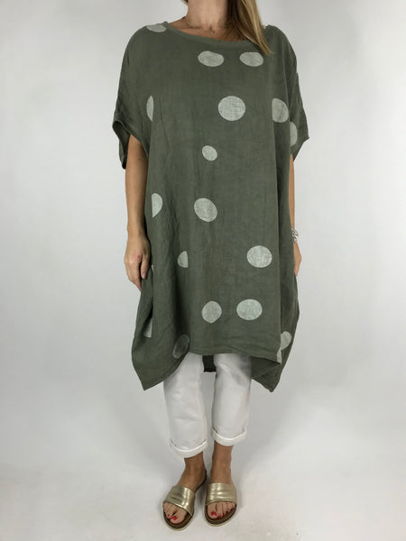 Lagenlook Lara  Dot Linen Tunic in khaki .code 5868