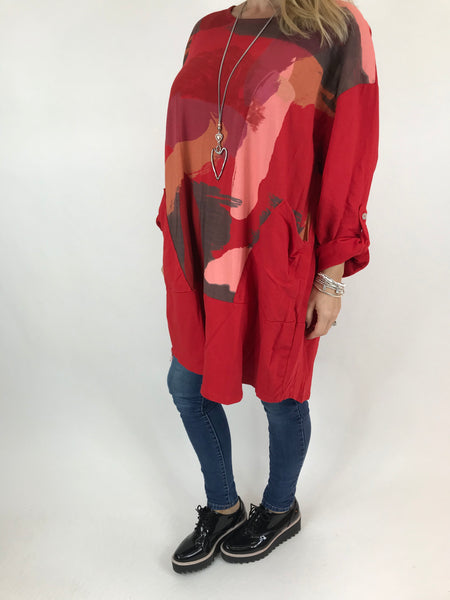 Lagenlook Paint Splash Print Top in Red. code 976301