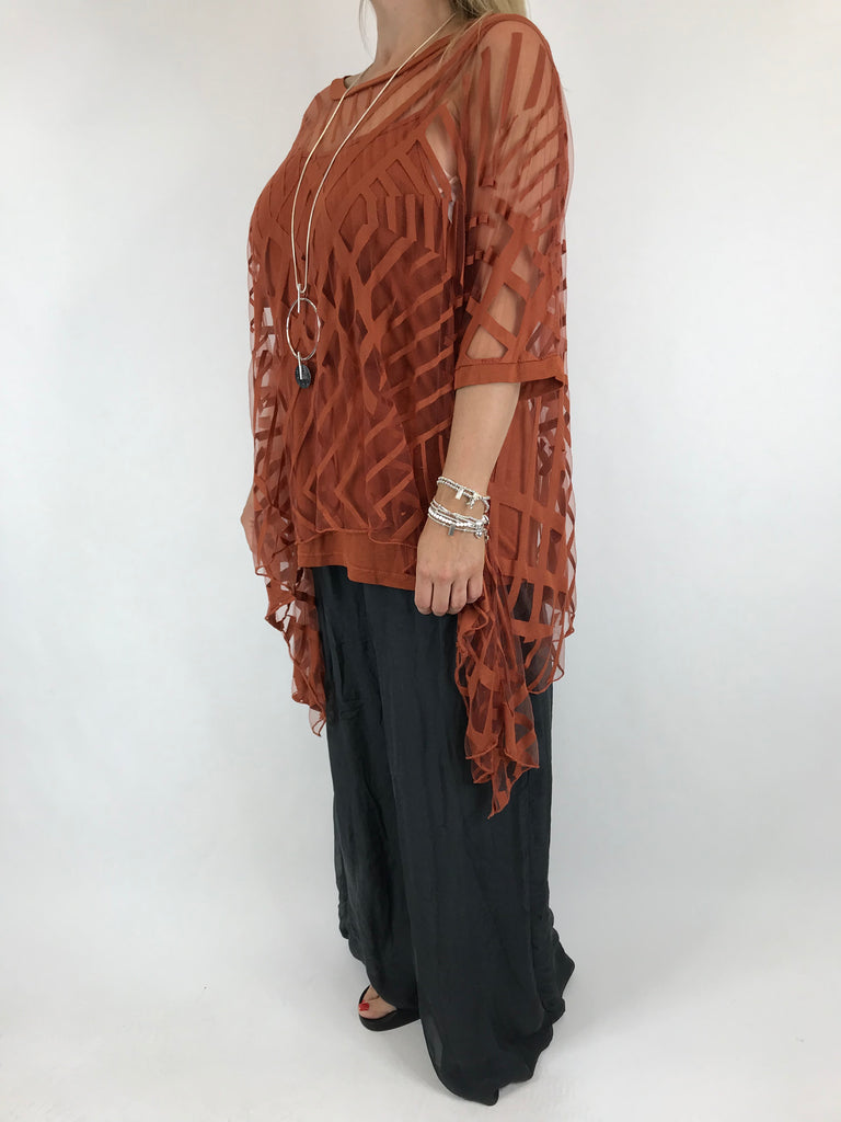Lagenlook Lazer Cut Net Layering Top in Rust . code 18042