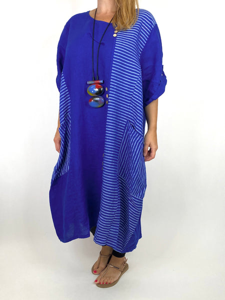 Lagenlook Claudia Button and Stripe Linen Tunic in Royal Blue. code 10377