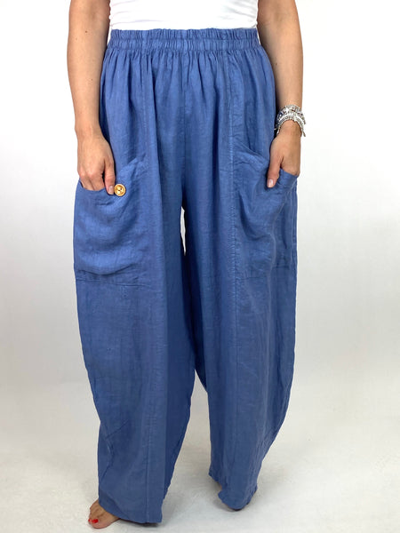 Lagenlook Eliza Wide leg Linen Trousers in Denim. code 6503