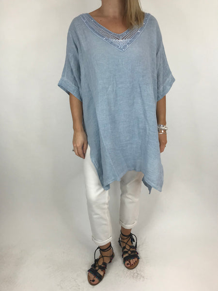 Lagenlook Stella Sequin Neck Summer Top in Sky. code 8394