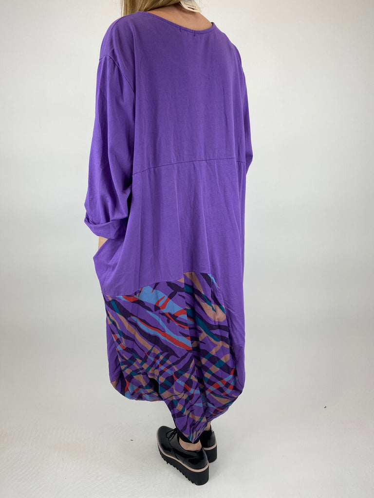 Lagenlook Wave Curve Hem Tunic in Purple. code 9977 - Lagenlook Clothing UK