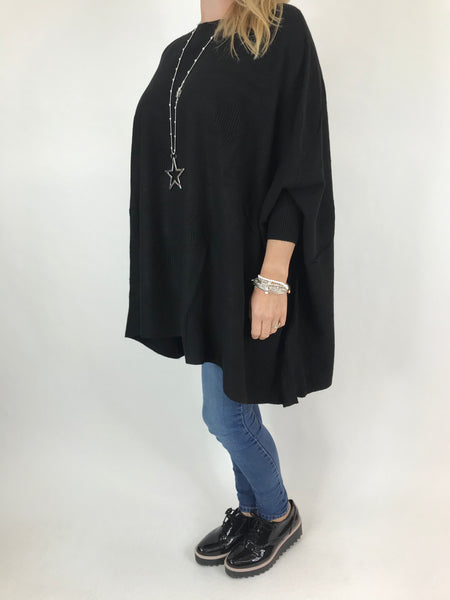 Lagenlook Calia Star Poncho Knit in Black. code 47352