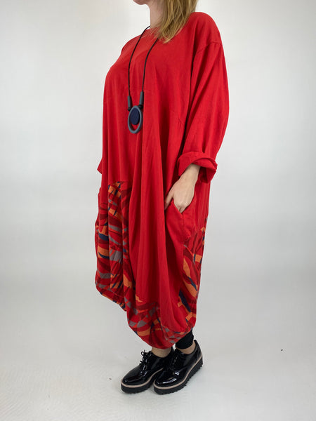 Lagenlook Wave Curve Hem Tunic in Red. code 9977 - Lagenlook Clothing UK