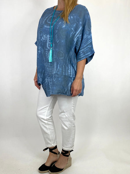Lagenlook Tye-dye Top in Denim Regular Size. code 6688