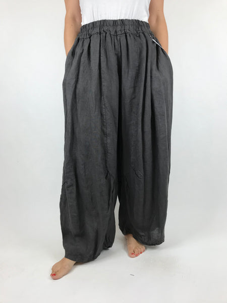 Lagenlook Penny wide Leg Linen Trousers in Charcoal. code 9030
