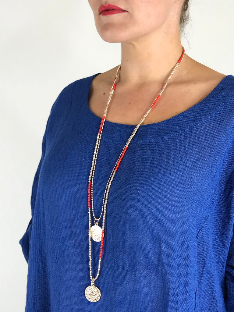 Lagenlook  Red and Rose Gold Bead Coin Necklace .code R3020