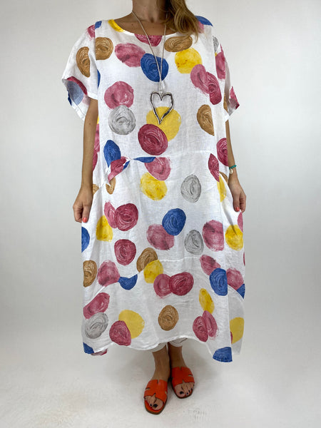 Lagenlook Wimborne Paint Dot Tunic in White. code 7688
