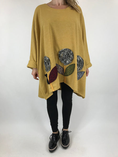 Lagenlook Flower Hem Top in Mustard. code 90969