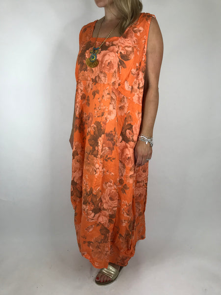 Lagenlook Emily Square neck linen  Flower Print Dress in Orange. code 5697