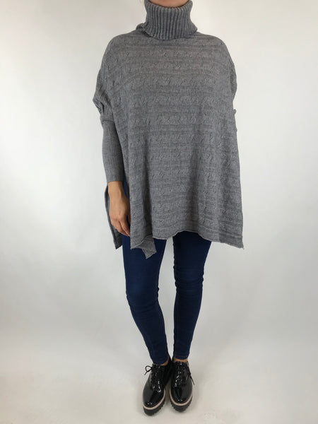 Lagenlook Beth Poncho Cable Textured Jumper in Grey. code 5106