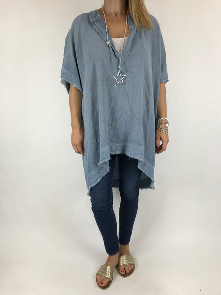Lagenlook Bella Cotton V-Neck in Denim. code 0200
