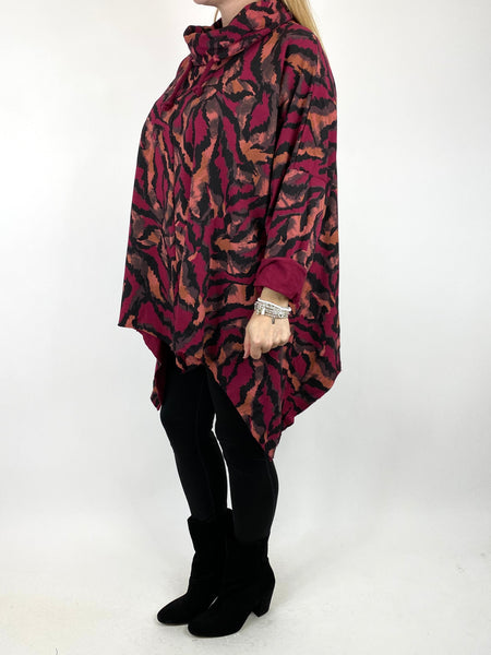 Lagenlook Animal Print Cowl Top in Wine code 50002 - Lagenlook Clothing UK