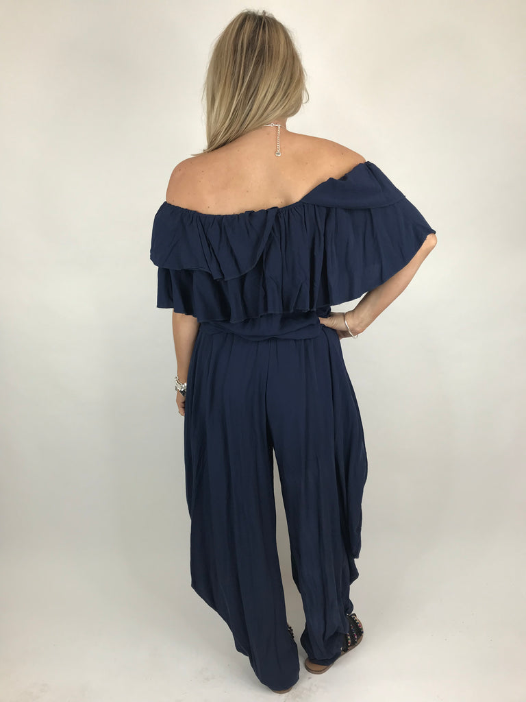 Lagenlook Frill Neck Jumpersuit in Navy. code 3948
