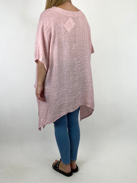 Lagenlook Kim Waffle Flower Pocket Top in Pink. code 91086 - Lagenlook Clothing UK