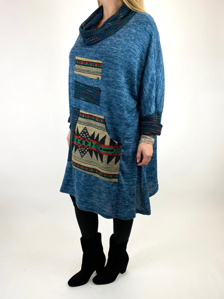 Lagenlook Nao Rainbow Aztec Top in Teal .code 9545 - Lagenlook Clothing UK