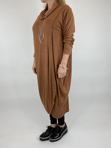 Lagenlook Fold Front Knit Tunic In Tan. code 5524
