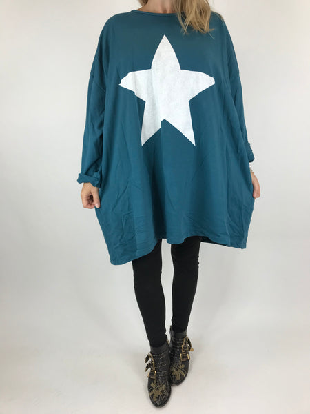 Lagenlook Solo Star Print Sweatshirt Top Tunic in Teal Blue. Code 9482 - Lagenlook Clothing UK