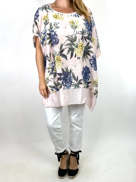 Lagenlook Aster Tropical Flower Top in Light Pink. code 89420