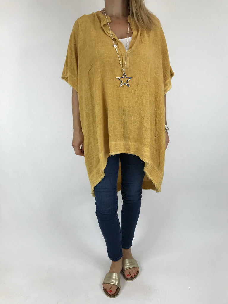 Lagenlook Bella Cotton V-Neck in Yellow. code 0200