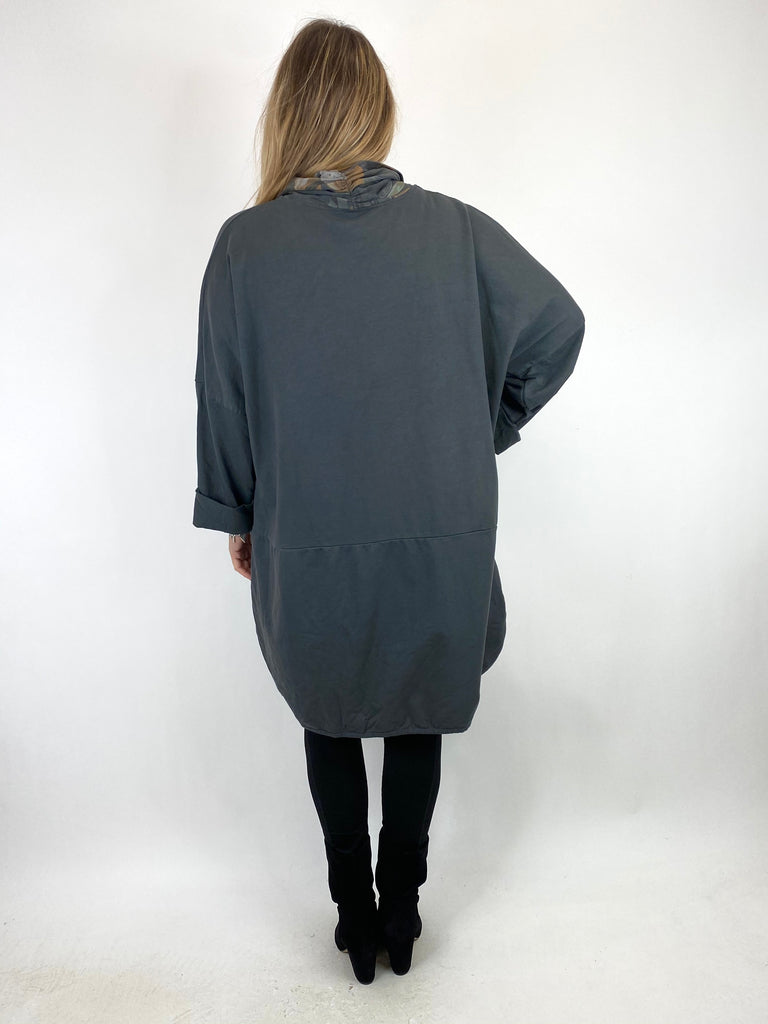 Lagenlook Alice Scarf Button Top in Charcoal. code 10559