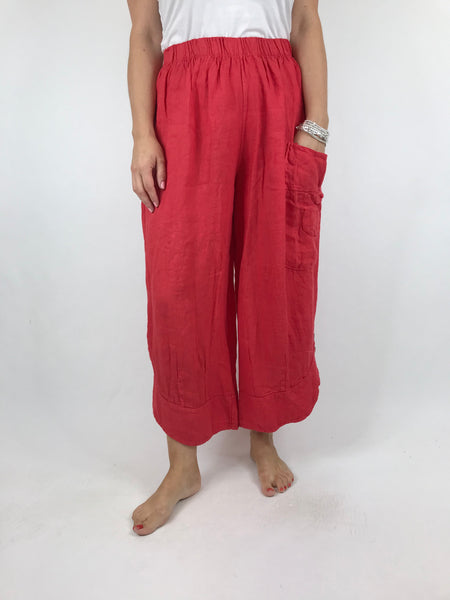 Lagenlook Cropped Linen Trouser in Coral. code 5229