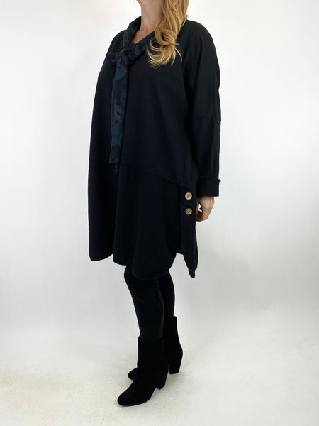 Lagenlook Alice Scarf Button Top in Black. code 10559